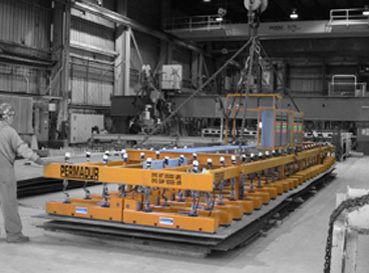 Permadur magnet lifting system in plate farm black and white